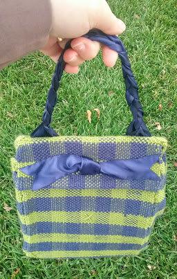 handwoven blue and green plaid bag