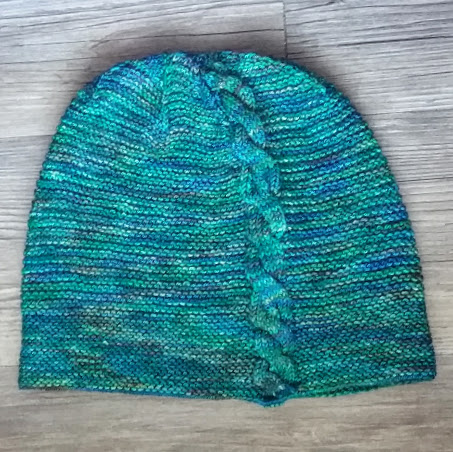 knit hat with cables