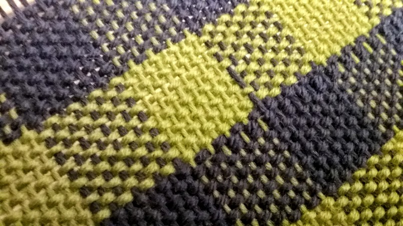 woven plaid with skipped threads