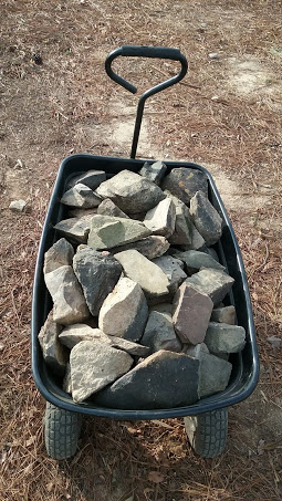 wagon full of rocks