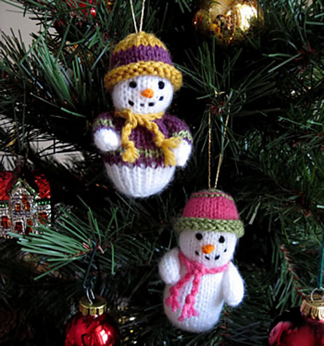 knitted snowman ornaments
