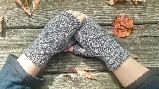 grey cabled fingerless mitts