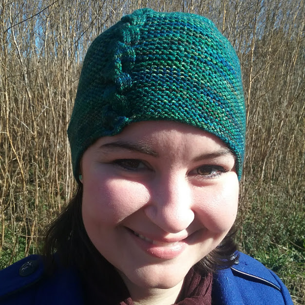 knitted hat with cable
